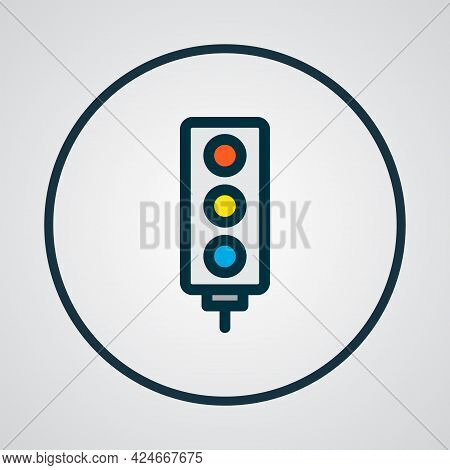 Traffic Light Icon Colored Line Symbol. Premium Quality Isolated Stoplight Element In Trendy Style.