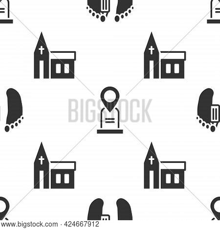 Set Dead Body, Location Grave And Church Building On Seamless Pattern. Vector