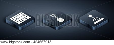 Set Isometric Beat Dead In Monitor, Grave With Cross And Shovel Icon. Vector