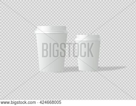 Mockup Template For Cafe, Corporate Identity Design. Disposable Paper Tableware. Vector Template For