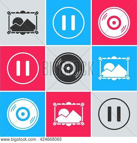 Set Picture Landscape, Pause Button And Vinyl Disk Icon. Vector