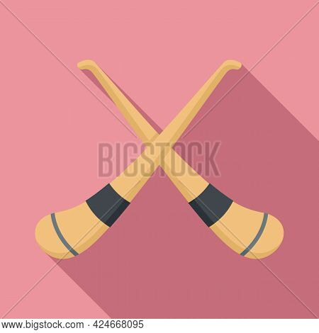 Hurling Crossed Sticks Icon. Flat Illustration Of Hurling Crossed Sticks Vector Icon For Web Design