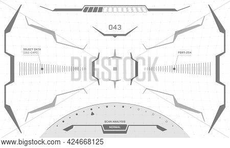 Vr Hud Interface Crosshair Screen Black And White Design. Futuristic Sci-fi Virtual Reality View Hea