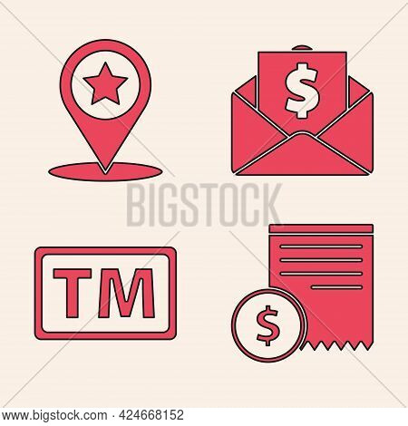 Set Paper Check And Financial Check, Map Pointer With Star, Envelope With Coin Dollar And Trademark