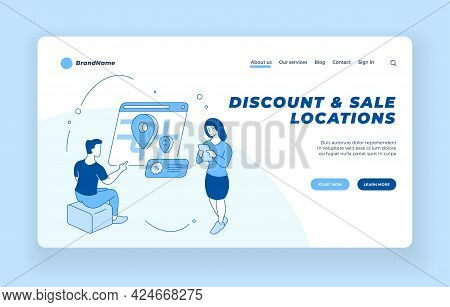 Online Search For Discounts And Sales. People Looking Shops With Profitable Promotions In Web Applic