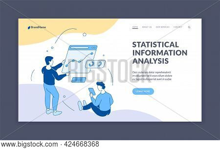 Statistical Information Analysis. Managers Conduct Research Analytic Charts. Marketing Technologies