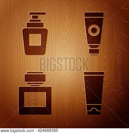 Set Cream Or Lotion Cosmetic Tube, Bottle Of Shampoo, Aftershave And Cream Or Lotion Cosmetic Tube O