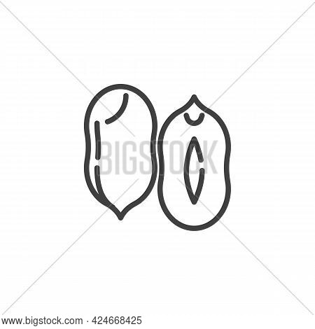 Peanut Kernel Line Icon. Linear Style Sign For Mobile Concept And Web Design. Peanut Nut Outline Vec