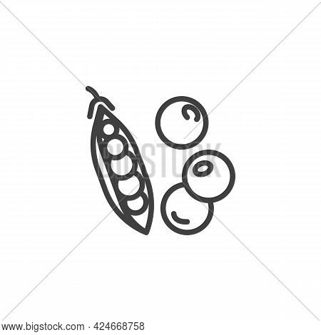 Pea Pod Line Icon. Linear Style Sign For Mobile Concept And Web Design. Fresh Peas Outline Vector Ic