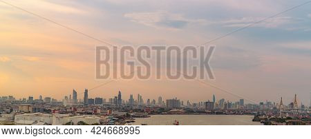 Cityscape Of Modern Building. Cityscape In Asia. Business Office Building. City With Sunset Sky. Hor