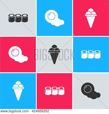 Set Sushi, Scrambled Eggs And Ice Cream In Waffle Cone Icon. Vector
