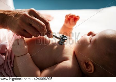 Pediatric Doctor Exams Little Baby. Health Care, Medical Examination, People Concept