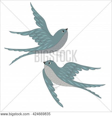 Spring Birds Swallows Isolated On White Background. A Pair Of Swallows. Vector Illustration