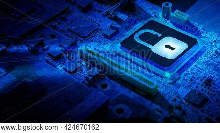 Safety Computer. Network Security Technology With Computer Processor Chip On Digital Motherboard Bac