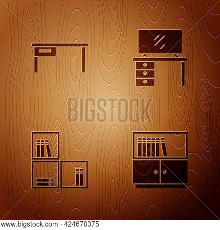 Set Library Bookshelf, Office Desk, Shelf With And Tv Table Stand On Wooden Background. Vector