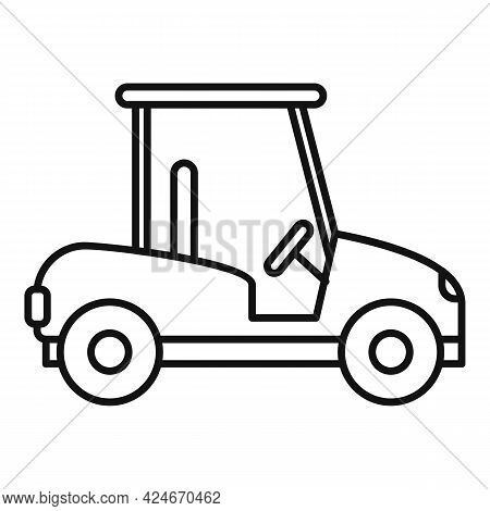 Golf Cart Course Icon. Outline Golf Cart Course Vector Icon For Web Design Isolated On White Backgro