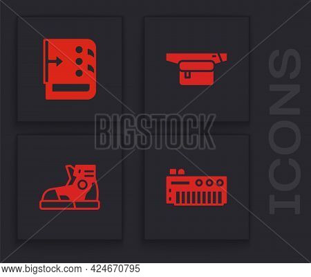 Set Music Synthesizer, Sound Mixer Controller, Waist Bag Of Banana And Sport Sneakers Icon. Vector