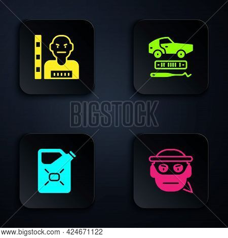 Set Bandit, Suspect Criminal, Canister Fuel And Car Theft. Black Square Button. Vector