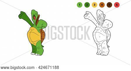 Coloring Book For Kids. Cartoon Character. Turtle Sings. Turtle Is Screaming. Black Contour Silhouet