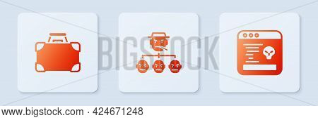 Set Mafia, Briefcase And Money And System Bug. White Square Button. Vector