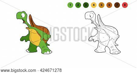 Coloring Book For Kids. Cartoon Character. Surprised Turtle. Isolated On White Background. Animal Th