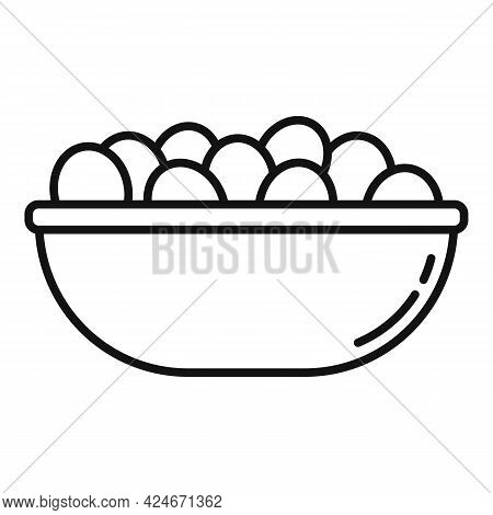 Greece Food Olive Bowl Icon. Outline Greece Food Olive Bowl Vector Icon For Web Design Isolated On W