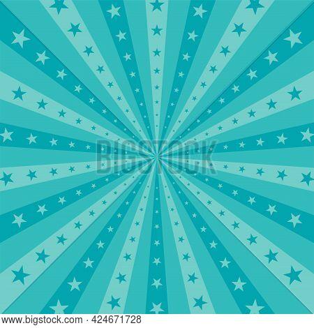 Sunlight Horizontal Background. Powder Blue Color Burst Background With Shining Stars. Vector Illust