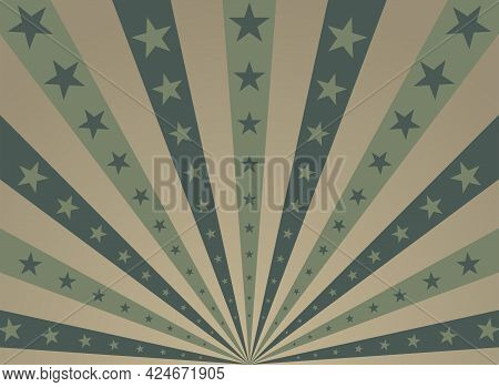Sunlight Horizontal Background. Haki Green And Beige Color Burst Background With Shining Stars. Vect