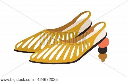 Fashion Summer Shoes Decorated With Slits And Sculptural Heel. Women's Trendy Footwear With Closed T