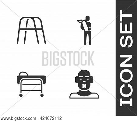 Set Head Of Deaf And Dumb, Walker, Stretcher And Human Broken Arm Icon. Vector