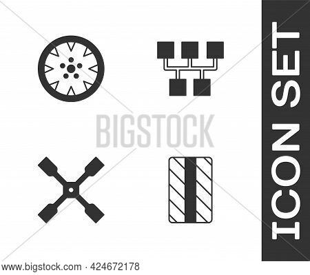 Set Car Tire Wheel, Alloy, Wheel Wrench And Gear Shifter Icon. Vector