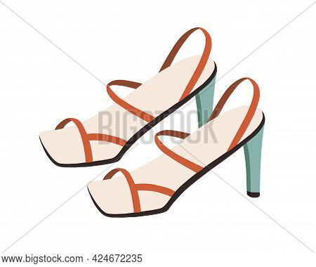 Women's Fashion High-heel Naked Sandals With Square Toe And Thin Straps. Trendy Fashionable Summer F