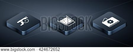 Set Isometric Ramadan Cannon, Octagonal Star And Glass With Water Icon. Vector