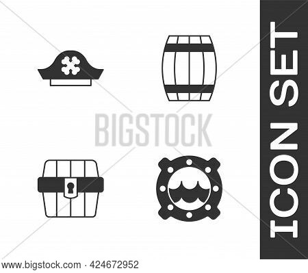 Set Ship Porthole With Seascape, Pirate Hat, Antique Treasure Chest And Wooden Barrel Icon. Vector