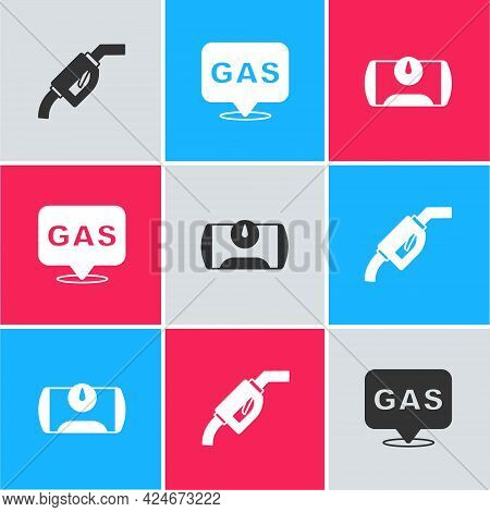 Set Gasoline Pump Nozzle, Location And Gas Station And Tank For Vehicle Icon. Vector