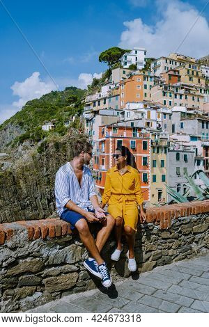View Of Riomaggiore Cinque Terre Sequence Of Hill Cities. Wonderful View Of Liguria, Italy, Europe.