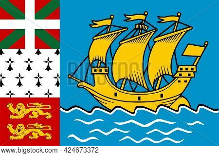 Territorial Collectivity Of Saint-pierre And Miquelon Flag In Real Proportions And Colors, Vector