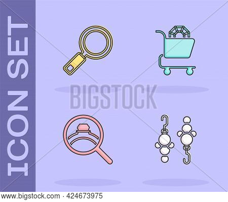 Set Earrings, Magnifying Glass, Diamond Engagement And Jewelry Online Shopping Icon. Vector