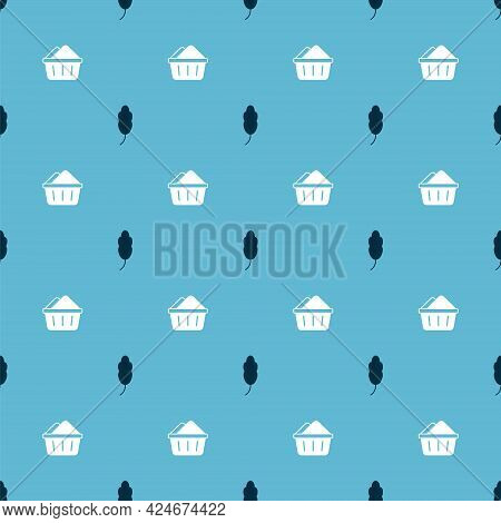 Set Feather And Basin With Soap Suds On Seamless Pattern. Vector