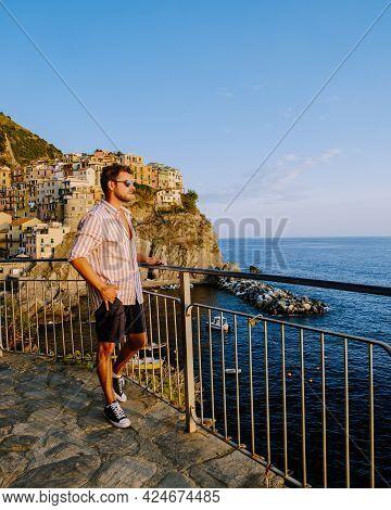 Cinque Terre Park Italy During A Summer Day, Vacation Italy Colorful Coast Manarola Cinque Terre Ita