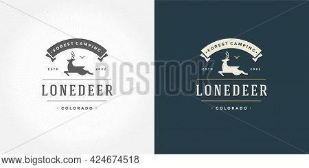 Deer With Horns Logo Emblem Vector Illustration Reindeer Silhouette For Shirt Or Print Stamp