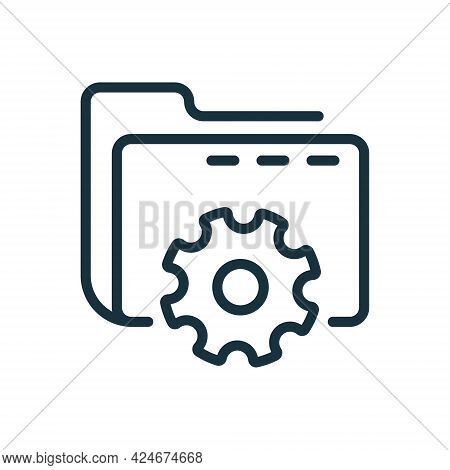 Setting Of Data Folder Line Icon. Computer Folder With Gear Linear Icon. Options And Configuration O