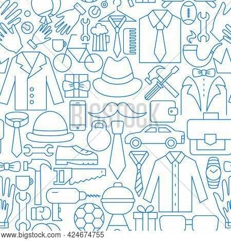 Fathers Day Line Seamless Pattern. Vector Illustration Of Outline Background.