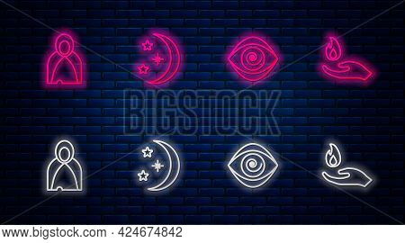 Set Line Moon And Stars, Hypnosis, Mantle, Cloak, Cape And Hand Holding Fire. Glowing Neon Icon On B