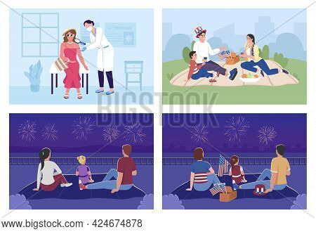 Family Outdoor Celebration And Sun Protection Flat Color Vector Illustration Set. Doctor Check Sunbu