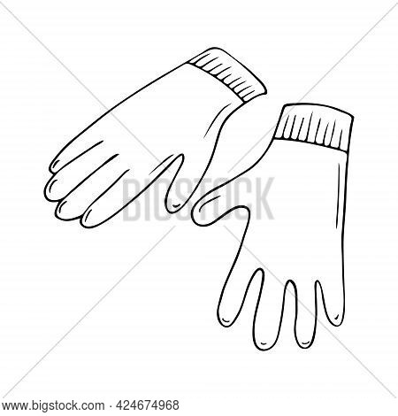 Gloves For Working In The Garden And At Home Vector Hand-drawn Illustration. Doodle Garden Tools, Co