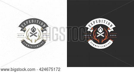 Campfire Logo Emblem Vector Illustration Outdoor Forest Camping Bonfire Silhouette