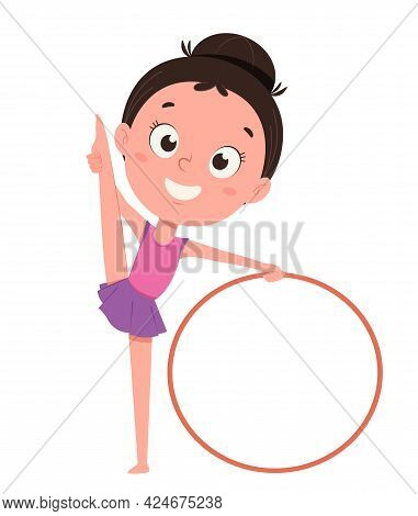 Cute Little Girl Training With Hula Hoop. Funny Cartoon Character. Vector Illustration On White Back