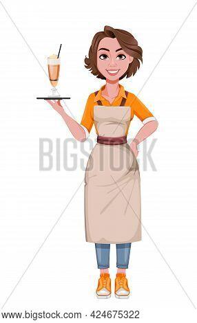 Female Barista. Coffee Business Concept. Cheerful Barista Cartoon Character. Stock Vector Illustrati