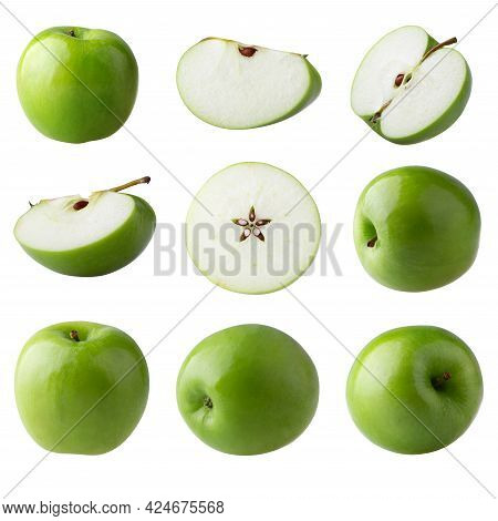 Green Apple And Cut Slice With Seed Isolated On White Background.